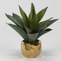 Green Faux Aloe Plant Arrangement in Gold Ceramic Planter