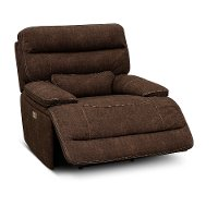 Coffee Brown Power Recliner - Rock Quarry