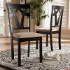 149-8961-RCW Contemporary Dark Brown and Sand Upholstered Dining Room Chair (Set of 2) - Keanna