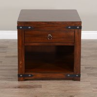 Rustic Dark Chocolate End Table - Santa Fe