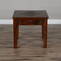 Rustic End Table with Slate Inlay - Santa Fe