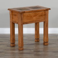 Rustic Oak Chair Side Table with Slate Inlays - Sedona