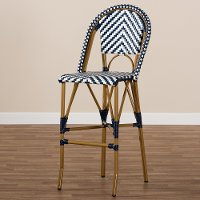 Blue and White Bamboo Style Stackable Bar Stool - Cassie