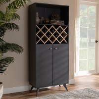 150-8998-RCW Mid Century Gray Tall Wine Cabinet - Marian