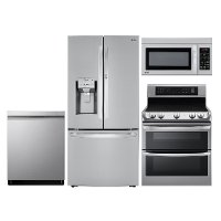 LG-4PC-BTM-DBL-ELE LG 4 Piece Electric Kitchen Appliance Package with Double Oven - Stainless Steel