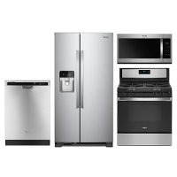 KIT Whirlpool 4 Piece Electric Kitchen Appliance Package with 24.5 cu. ft. Side by Side Refrigerator - Stainless Steel