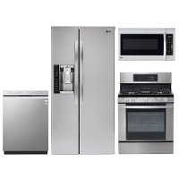 KIT LG 4 Piece Gas Kitchen Appliance Package with 26.2 cu. ft. Refrigerator - Stainless Steel