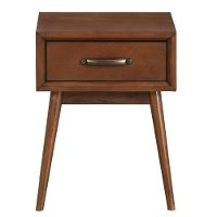 Mid Century Modern Brown Nightstand - Modern Eclectic