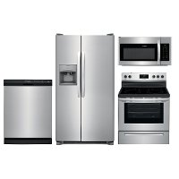KIT Frigidaire 4 Piece Electric Kitchen Appliance Package with 25.5 cu. ft. Refrigerator - Stainless Steel