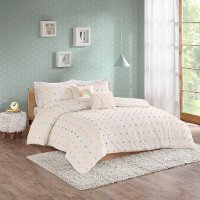 White and Multi Color Pom-Pom Twin Callie 4 Piece Bedding Collection