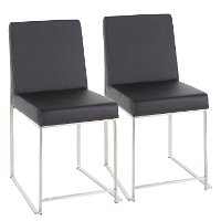 DC-HBFUJI-SSBK2 Modern Black and Silver Upholstered Dining Room Chair (Set of 2) - Fuji