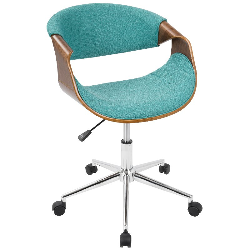 Walnut And Teal Mid Century Modern Office Chair Curvo Rc Willey Furniture Store