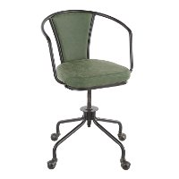 OC-ORUP-BKGN Metal and Green Industrial Upholstered Task Chair - Oregon