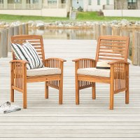 OWC2BR Acacia Wood Outdoor Patio Chairs with Cushions, set of 2 - Midland