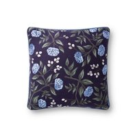 Navy and Blue Floral Throw Pillow