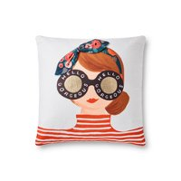 White and Multi-Color Throw Pillow with Redhead and Glasses