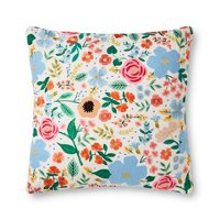Ivory and Multi Color Floral Throw Pillow