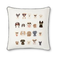 22 Inch Cream Throw Pillow with Multi-Colored Dogs