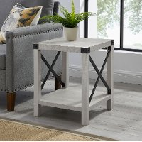 Rustic Wood Side Table - Stone Grey