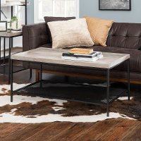 Gray Wash 42 Inch Square Tray Coffee Table with Mesh Metal Shelf - Emma