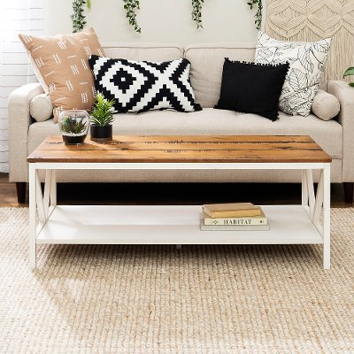White Wash And Gray Distressed Farmhouse Coffee Table Natalee Rc Willey Furniture Store
