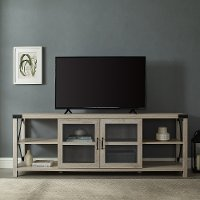 Modern 70  Farmhouse Metal X TV Stand - White Oak