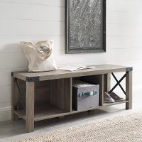 Gray Farmhouse Entry Bench - Metal X