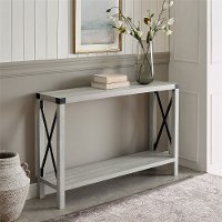 Stone Gray 46 Inch Rustic Farmhouse Entryway Table - Metal X