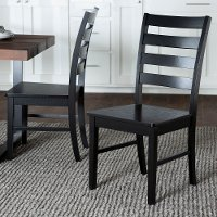 Farmhouse Black Ladder Back Dining Room Chair (Set of 2) -