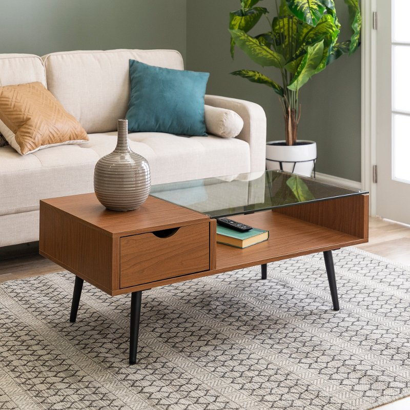 Mid Century Modern Wood Coffee Table Acorn Rc Willey Furniture Store