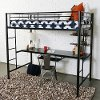 Contemporary Black Twin Loft Bed with Workstation - Zinnia