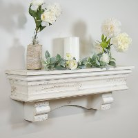 36 Inch Distressed White Wood Shelf