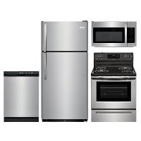 KIT Frigidaire 4 Piece Electric Kitchen Appliance Package with Top Freezer Refrigerator - Stainless Steel