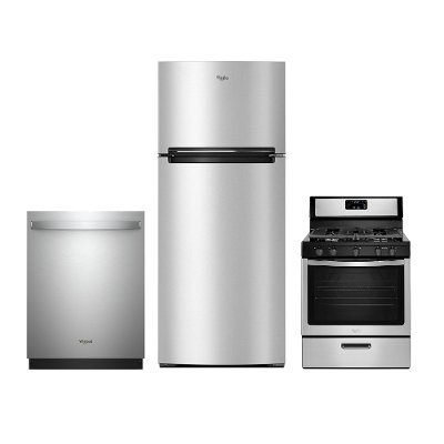 Whirlpool 3 Piece Electric Kitchen Appliance Package With Top Freezer Refrigerator Stainless Steel Rc Willey Furniture Store