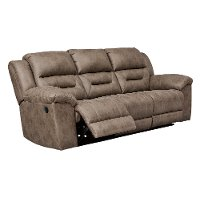Fossil Brown Casual Reclining Sofa - Stoneland
