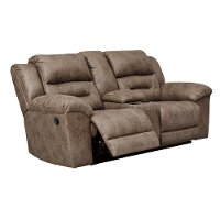 Fossil Brown Casual Reclining Love Seat with Center Console - Stoneland