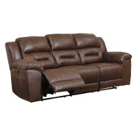 Chocolate Brown Casual Reclining Sofa - Stoneland