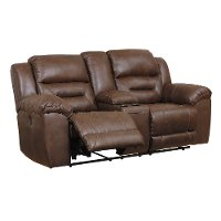Chocolate Brown Casual Reclining Love Seat with Center Console - Stoneland