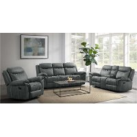 Charcoal Gray Reclining Sofa with Drop Down Table and Drawer - Sorrento
