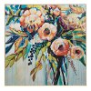 Navy, Green, Yellow and Turquoise Floral Linen Canvas Wall Art