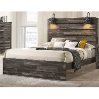 Rustic Contemporary Brown King Size Bed - Carter