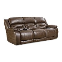 Walnut Brown Power Reclining Sofa with Power Headrests - Enterprise