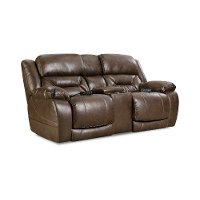Walnut Brown Power Reclining Love Seat with Power Headrests - Enterprise