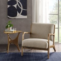 Taupe Accent Chair with Exposed Wood Frame - Novak