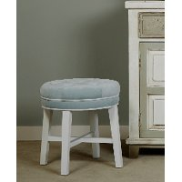 Cottage White Vanity Stool with Spa Blue Fabric - Sophia