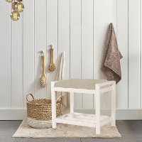 Cottage White Vanity Stool - Amelia