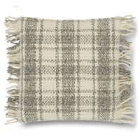 Magnolia Home Furniture Ivory and Gray Plaid Throw Pillow