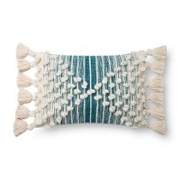 Magnolia Home Furniture Ivory and Blue Rectangular Throw Pillow