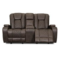 Dark Brown Gliding Reclining Loveseat with Console - Transformer