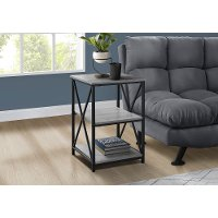Gray and Black End Table - X Frame